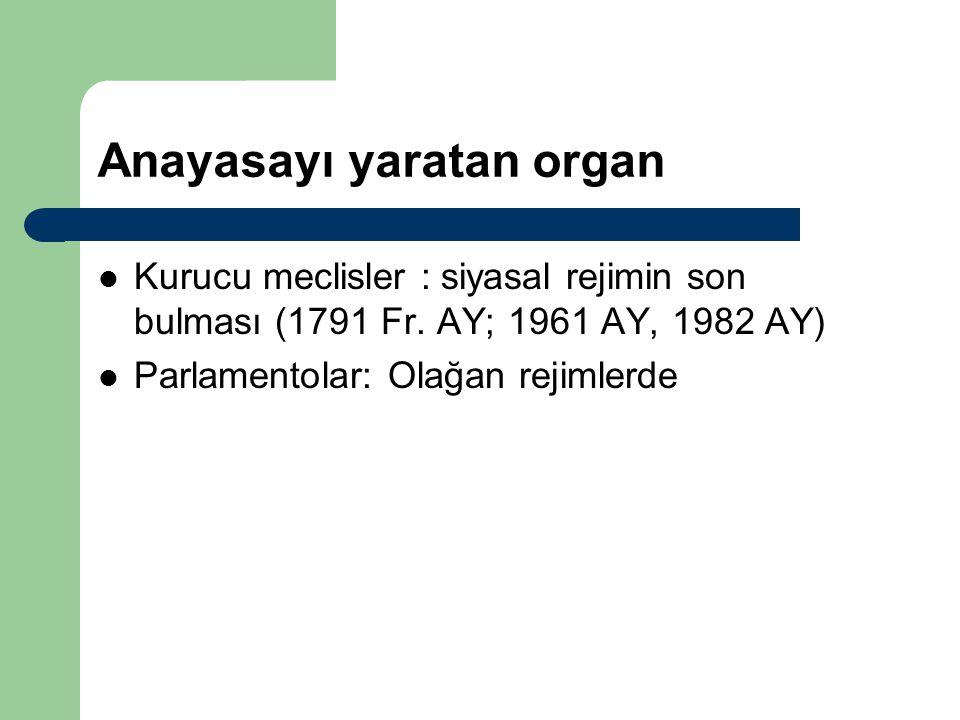 Anayasayı yaratan organ Kurucu meclisler : siyasal rejimin son bulması (1791 Fr. AY; 1961 AY, 1982 AY) Parlamentolar: Olağan rejimlerde