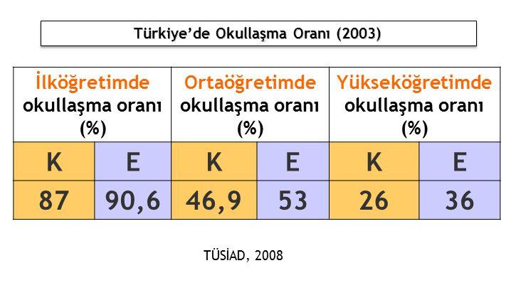 İlköğretimde okullaşma oranı (%) Ortaöğretimde okullaşma oranı (%) Yükseköğretimde okullaşma oranı (%) KEKEKE 8790,646,9532636 TÜSİAD, 2008