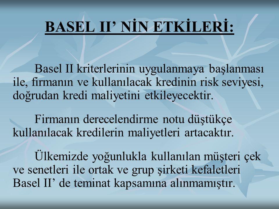BASEL II' NİN ETKİLERİ: Basel II kriterlerinin uygulanmaya başlanması ile, firmanın ve kullanılacak kredinin risk seviyesi, doğrudan kredi maliyetini