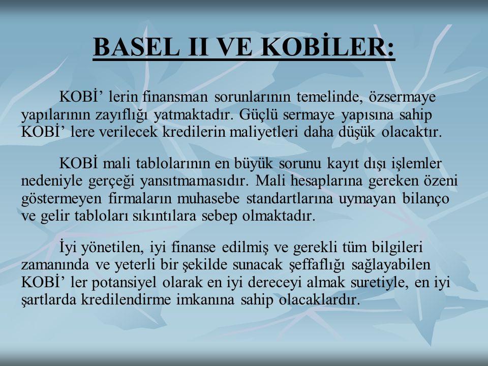BASEL II VE KOBİLER: KOBİ' lerin finansman sorunlarının temelinde, özsermaye yapılarının zayıflığı yatmaktadır. Güçlü sermaye yapısına sahip KOBİ' ler