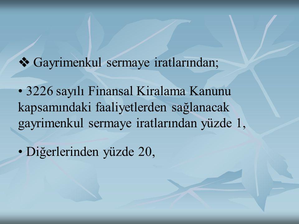   Gayrimenkul sermaye iratlarından; 3226 sayılı Finansal Kiralama Kanunu kapsamındaki faaliyetlerden sağlanacak gayrimenkul sermaye iratlarından yüz