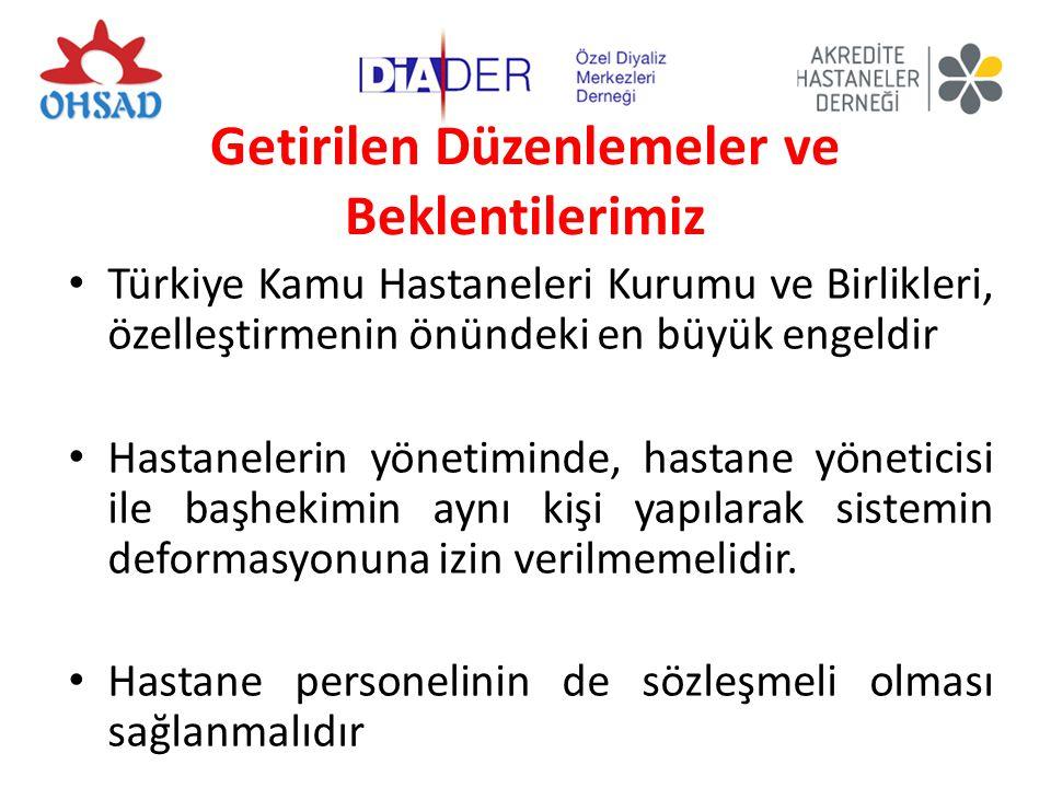 Getirilen Düzenlemeler ve Beklentilerimiz Türkiye Kamu Hastaneleri Kurumu ve Birlikleri, özelleştirmenin önündeki en büyük engeldir Hastanelerin yönetiminde, hastane yöneticisi ile başhekimin aynı kişi yapılarak sistemin deformasyonuna izin verilmemelidir.
