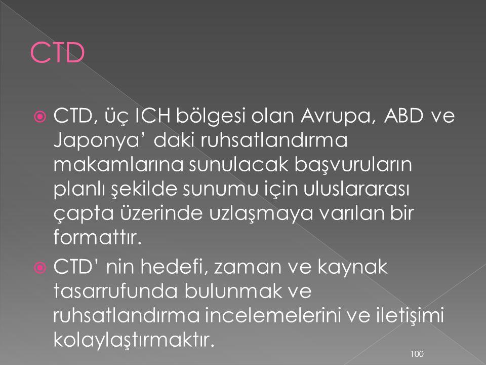  CTD, üç ICH bölgesi olan Avrupa, ABD ve Japonya' daki ruhsatlandırma makamlarına sunulacak başvuruların planlı şekilde sunumu için uluslararası çapt