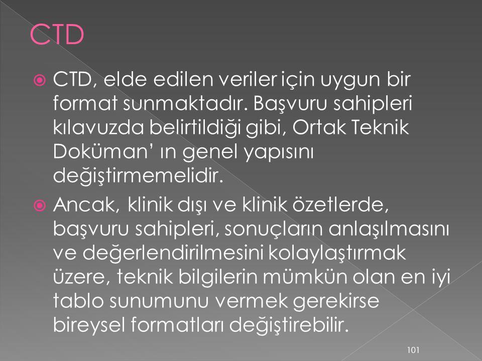  CTD, elde edilen veriler için uygun bir format sunmaktadır. Başvuru sahipleri kılavuzda belirtildiği gibi, Ortak Teknik Doküman' ın genel yapısını d