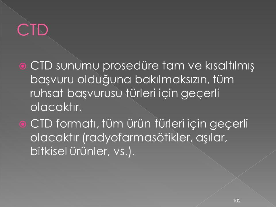  CTD sunumu prosedüre tam ve kısaltılmış başvuru olduğuna bakılmaksızın, tüm ruhsat başvurusu türleri için geçerli olacaktır.  CTD formatı, tüm ürün