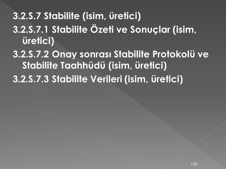 3.2.S.7 Stabilite (isim, üretici) 3.2.S.7.1 Stabilite Özeti ve Sonuçlar (isim, üretici) 3.2.S.7.2 Onay sonrası Stabilite Protokolü ve Stabilite Taahhü