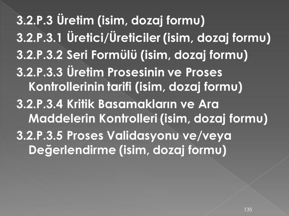 3.2.P.3 Üretim (isim, dozaj formu) 3.2.P.3.1 Üretici/Üreticiler (isim, dozaj formu) 3.2.P.3.2 Seri Formülü (isim, dozaj formu) 3.2.P.3.3 Üretim Proses