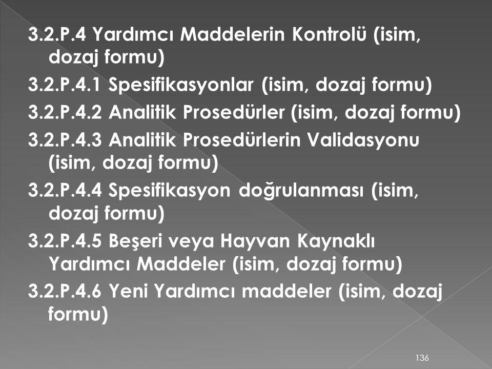 3.2.P.4 Yardımcı Maddelerin Kontrolü (isim, dozaj formu) 3.2.P.4.1 Spesifikasyonlar (isim, dozaj formu) 3.2.P.4.2 Analitik Prosedürler (isim, dozaj fo