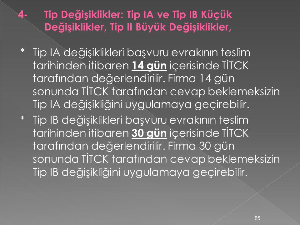 *Tip IA değişiklikleri başvuru evrakının teslim tarihinden itibaren 14 gün içerisinde TİTCK tarafından değerlendirilir. Firma 14 gün sonunda TİTCK tar