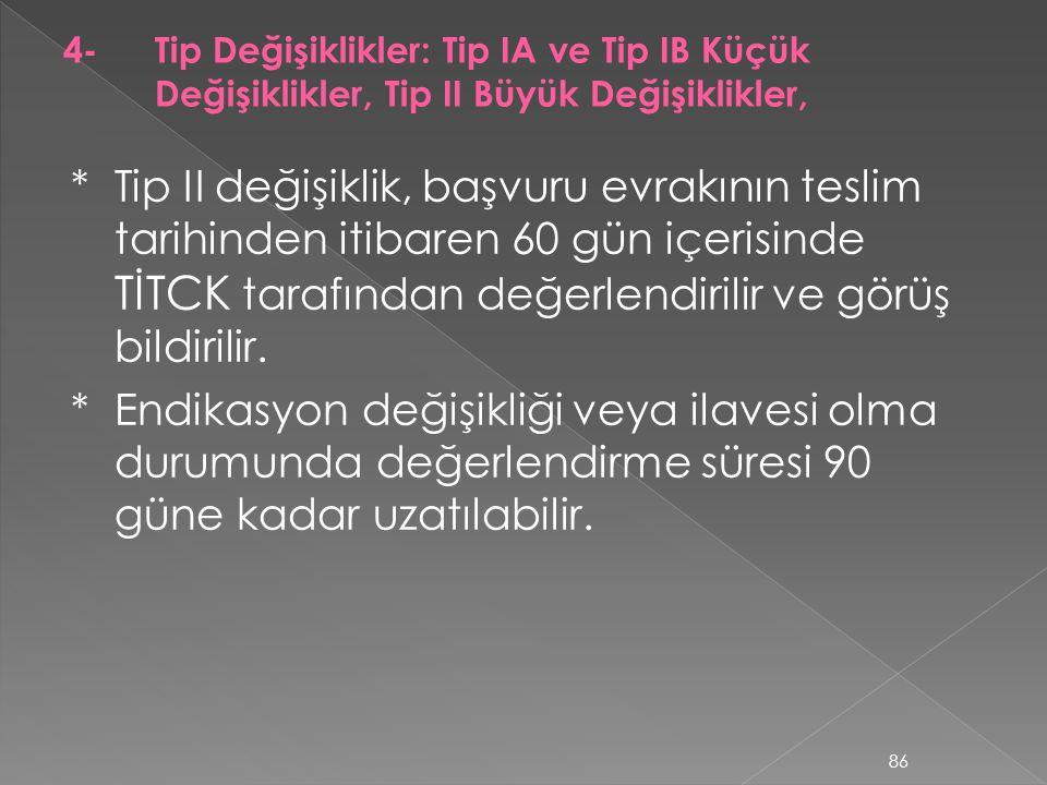 *Tip II değişiklik, başvuru evrakının teslim tarihinden itibaren 60 gün içerisinde TİTCK tarafından değerlendirilir ve görüş bildirilir. *Endikasyon d