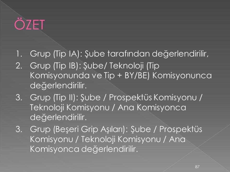 1.Grup (Tip IA): Şube tarafından değerlendirilir, 2.Grup (Tip IB): Şube/ Teknoloji (Tip Komisyonunda ve Tip + BY/BE) Komisyonunca değerlendirilir. 3.G
