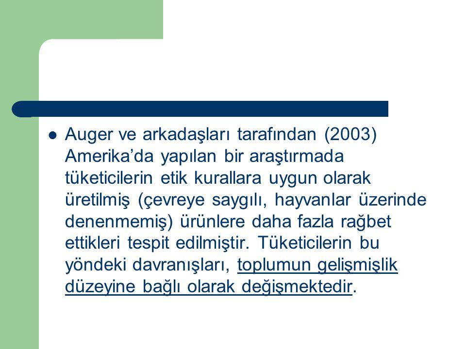 Auger ve arkadaşları tarafından (2003) Amerika'da yapılan bir araştırmada tüketicilerin etik kurallara uygun olarak üretilmiş (çevreye saygılı, hayvan