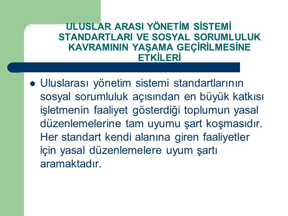 ULUSLAR ARASI YÖNETİM SİSTEMİ STANDARTLARI VE SOSYAL SORUMLULUK KAVRAMININ YAŞAMA GEÇİRİLMESİNE ETKİLERİ Uluslarası yönetim sistemi standartlarının so