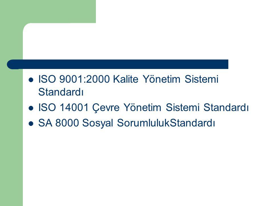 ISO 9001:2000 Kalite Yönetim Sistemi Standardı ISO 14001 Çevre Yönetim Sistemi Standardı SA 8000 Sosyal SorumlulukStandardı