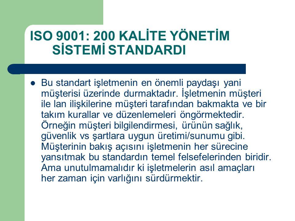 ISO 9001: 200 KALİTE YÖNETİM SİSTEMİ STANDARDI Bu standart işletmenin en önemli paydaşı yani müşterisi üzerinde durmaktadır. İşletmenin müşteri ile la