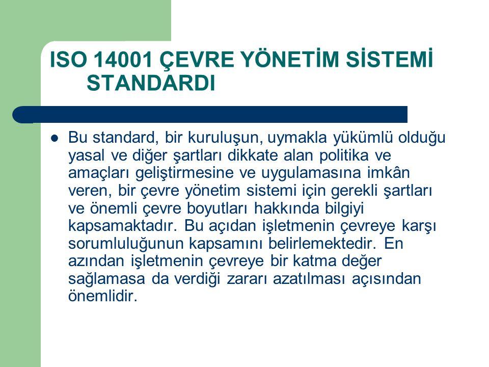 ISO 14001 ÇEVRE YÖNETİM SİSTEMİ STANDARDI Bu standard, bir kuruluşun, uymakla yükümlü olduğu yasal ve diğer şartları dikkate alan politika ve amaçları