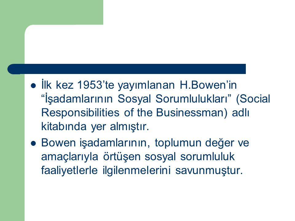 """İlk kez 1953'te yayımlanan H.Bowen'in """"İşadamlarının Sosyal Sorumlulukları"""" (Social Responsibilities of the Businessman) adlı kitabında yer almıştır."""