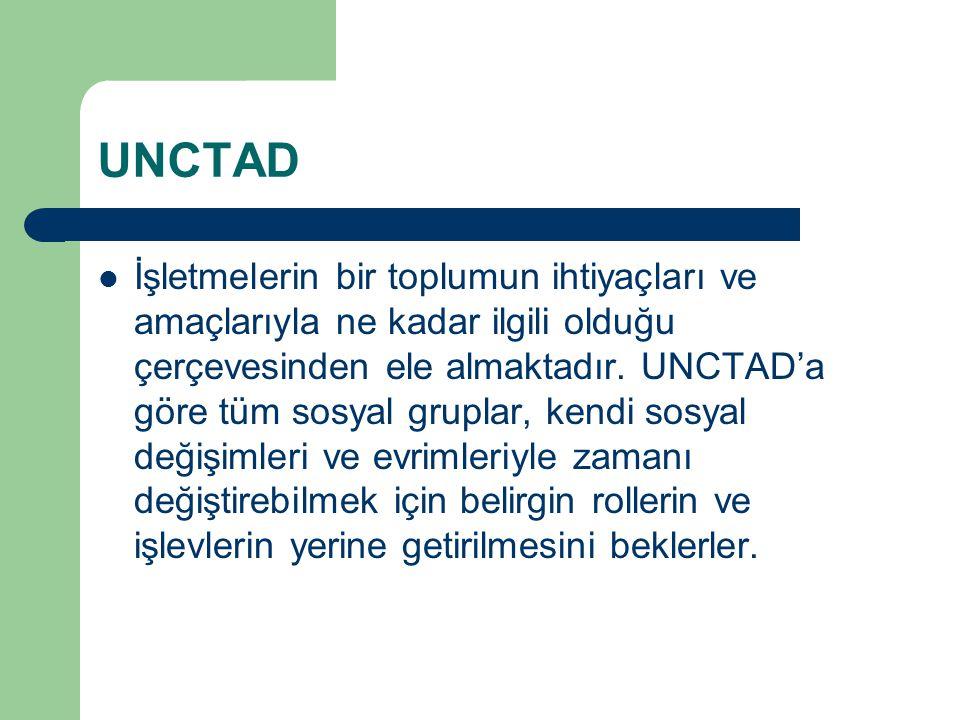 UNCTAD İşletmelerin bir toplumun ihtiyaçları ve amaçlarıyla ne kadar ilgili olduğu çerçevesinden ele almaktadır. UNCTAD'a göre tüm sosyal gruplar, ken