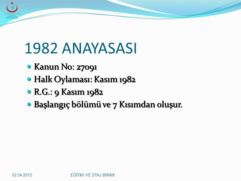 02.04.2015EĞİTİM VE STAJ BİRİMİ 1982 ANAYASASI Kanun No: 27091 Kanun No: 27091 Halk Oylaması: Kasım 1982 Halk Oylaması: Kasım 1982 R.G.: 9 Kasım 1982
