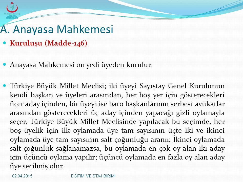 02.04.2015EĞİTİM VE STAJ BİRİMİ A. Anayasa Mahkemesi Kuruluşu (Madde-146) Anayasa Mahkemesi on yedi üyeden kurulur. Türkiye Büyük Millet Meclisi; iki