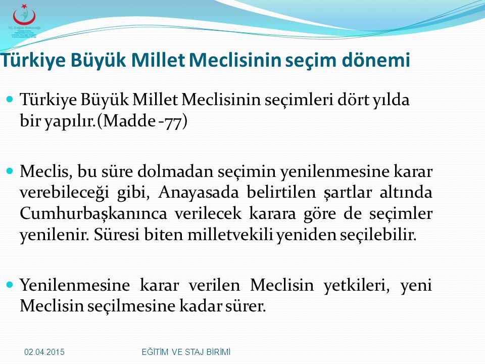 02.04.2015EĞİTİM VE STAJ BİRİMİ Türkiye Büyük Millet Meclisinin seçim dönemi Türkiye Büyük Millet Meclisinin seçimleri dört yılda bir yapılır.(Madde -
