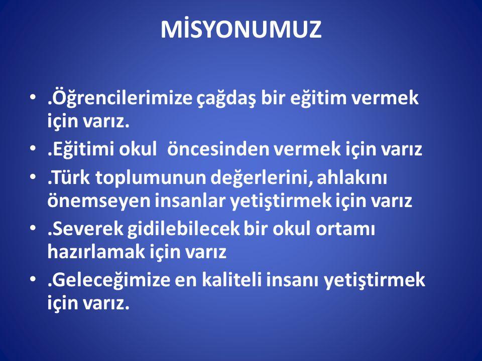 MİSYONUMUZ.Öğrencilerimize çağdaş bir eğitim vermek için varız..Eğitimi okul öncesinden vermek için varız.Türk toplumunun değerlerini, ahlakını önemse