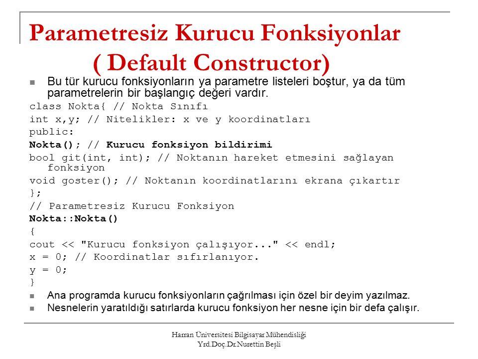 Harran Üniversitesi Bilgisayar Mühendisliği Yrd.Doç.Dr.Nurettin Beşli Parametresiz Kurucu Fonksiyonlar ( Default Constructor) Bu tür kurucu fonksiyonların ya parametre listeleri boştur, ya da tüm parametrelerin bir başlangıç değeri vardır.