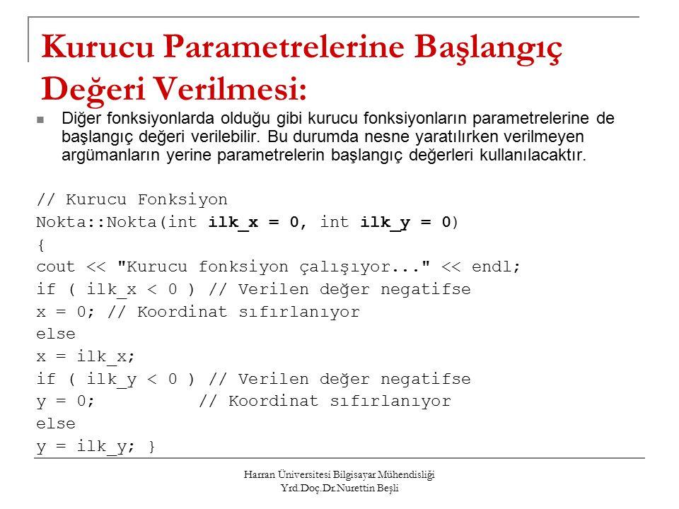 Harran Üniversitesi Bilgisayar Mühendisliği Yrd.Doç.Dr.Nurettin Beşli Kurucu Parametrelerine Başlangıç Değeri Verilmesi: Diğer fonksiyonlarda olduğu gibi kurucu fonksiyonların parametrelerine de başlangıç değeri verilebilir.