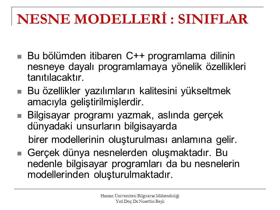 Harran Üniversitesi Bilgisayar Mühendisliği Yrd.Doç.Dr.Nurettin Beşli NESNE MODELLERİ : SINIFLAR Bu bölümden itibaren C++ programlama dilinin nesneye dayalı programlamaya yönelik özellikleri tanıtılacaktır.
