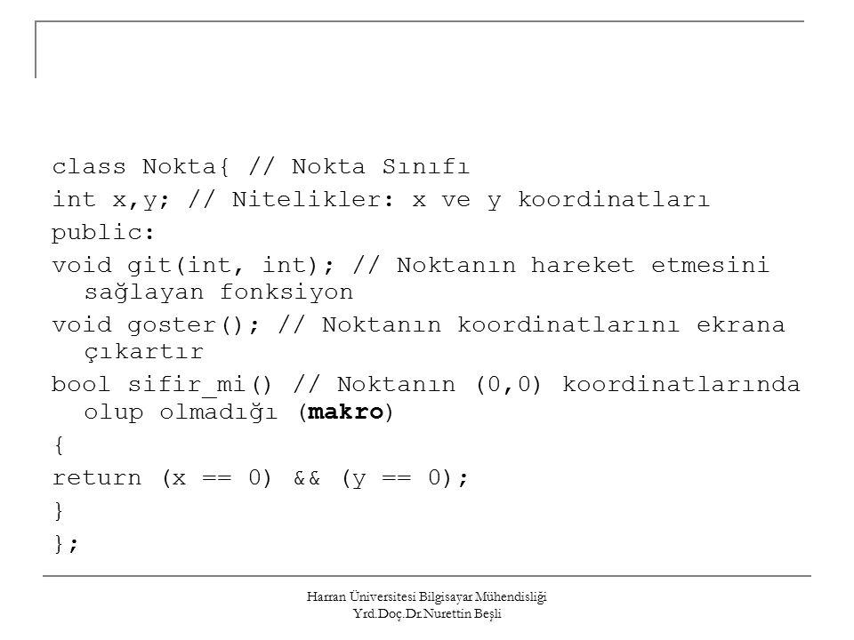Harran Üniversitesi Bilgisayar Mühendisliği Yrd.Doç.Dr.Nurettin Beşli class Nokta{ // Nokta Sınıfı int x,y; // Nitelikler: x ve y koordinatları public: void git(int, int); // Noktanın hareket etmesini sağlayan fonksiyon void goster(); // Noktanın koordinatlarını ekrana çıkartır bool sifir_mi() // Noktanın (0,0) koordinatlarında olup olmadığı (makro) { return (x == 0) && (y == 0); } };