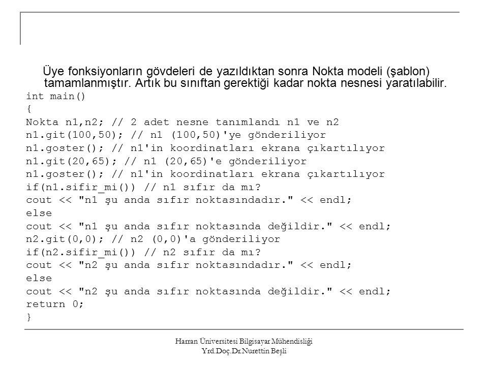 Harran Üniversitesi Bilgisayar Mühendisliği Yrd.Doç.Dr.Nurettin Beşli Üye fonksiyonların gövdeleri de yazıldıktan sonra Nokta modeli (şablon) tamamlanmıştır.