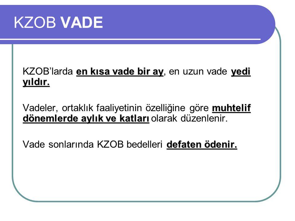 KZOB VADE en kısa vade bir ayyedi yıldır.KZOB'larda en kısa vade bir ay, en uzun vade yedi yıldır.