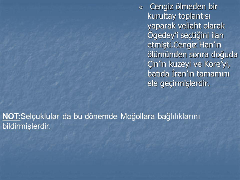 R Cengiz ölmeden bir kurultay toplantısı yaparak veliaht olarak Ögedey'i seçtiğini ilan etmişti.Cengiz Han'ın ölümünden sonra doğuda Çin'in kuzeyi ve