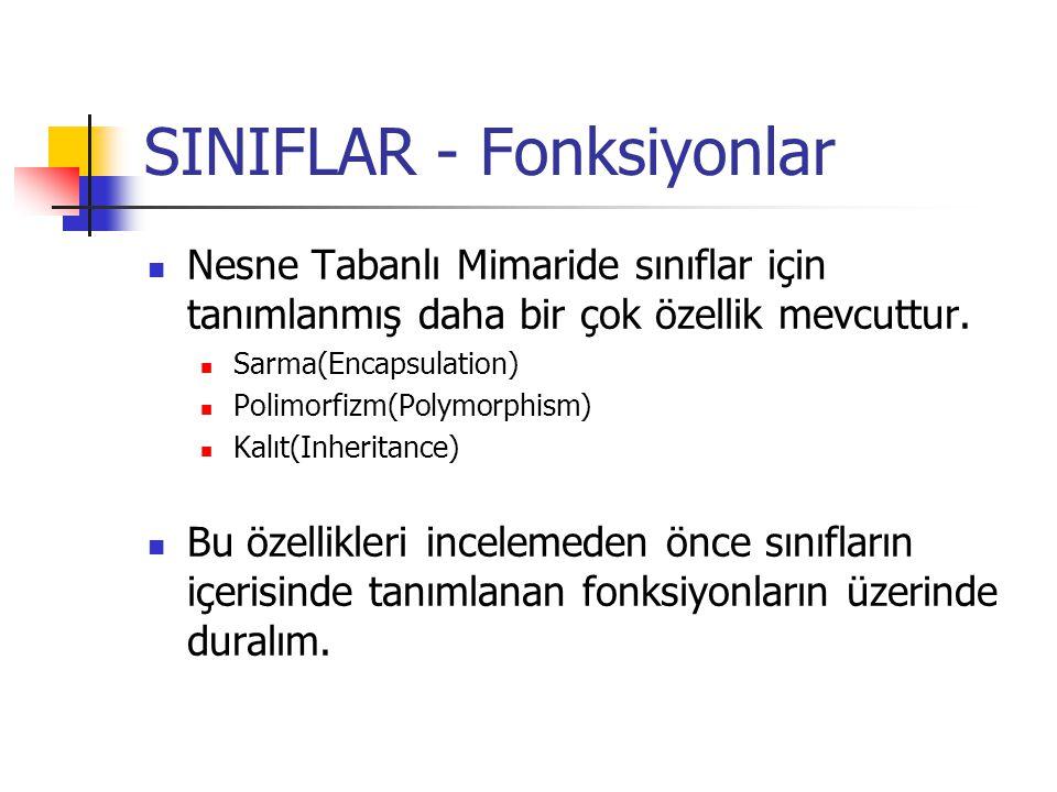 SINIFLAR - Fonksiyonlar Nesne Tabanlı Mimaride sınıflar için tanımlanmış daha bir çok özellik mevcuttur.