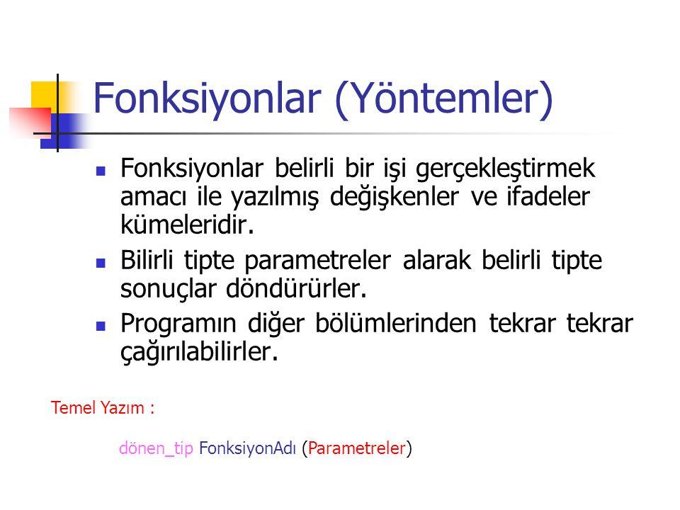 Fonksiyonlar (Yöntemler) Fonksiyonlar belirli bir işi gerçekleştirmek amacı ile yazılmış değişkenler ve ifadeler kümeleridir.
