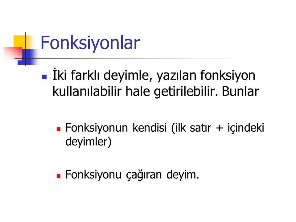 Fonksiyonlar İki farklı deyimle, yazılan fonksiyon kullanılabilir hale getirilebilir.