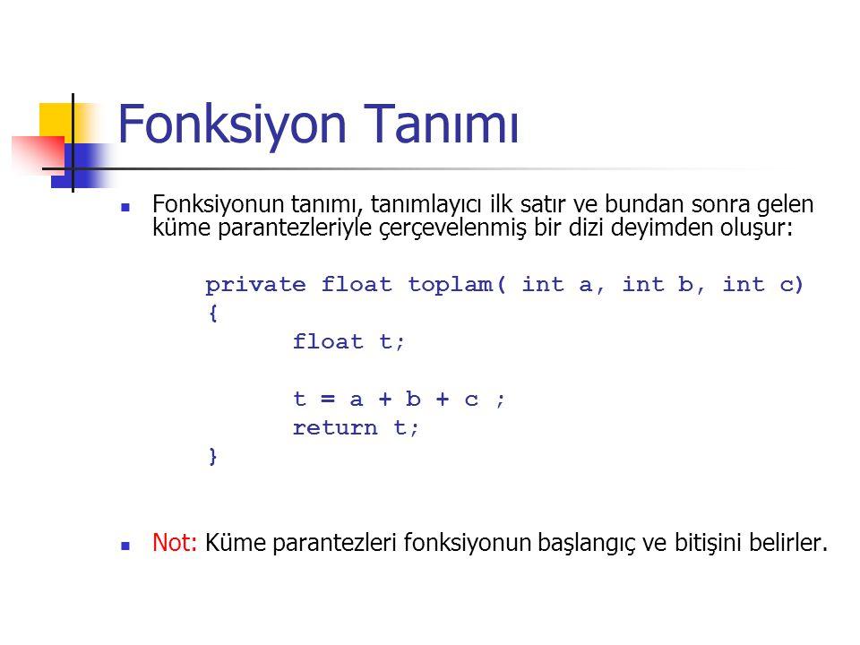 Fonksiyon Tanımı Fonksiyonun tanımı, tanımlayıcı ilk satır ve bundan sonra gelen küme parantezleriyle çerçevelenmiş bir dizi deyimden oluşur: private float toplam( int a, int b, int c) { float t; t = a + b + c ; return t; } Not: Küme parantezleri fonksiyonun başlangıç ve bitişini belirler.