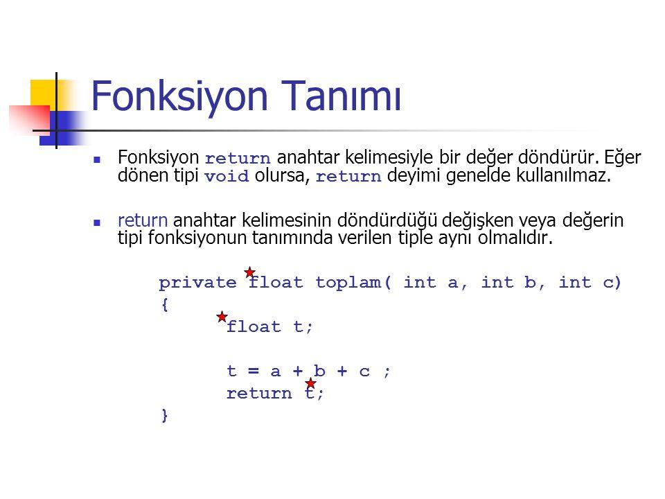 Fonksiyon Tanımı Fonksiyon return anahtar kelimesiyle bir değer döndürür.