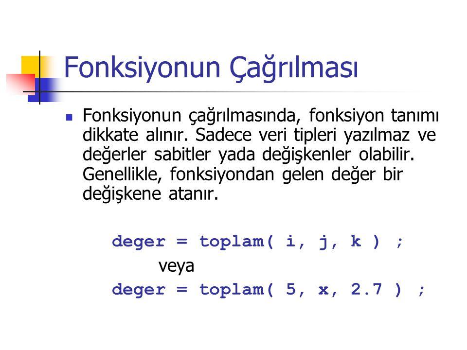 Fonksiyonun Çağrılması Fonksiyonun çağrılmasında, fonksiyon tanımı dikkate alınır.