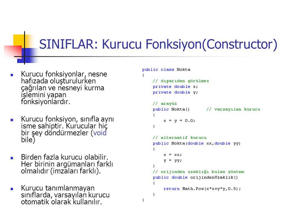 SINIFLAR: Kurucu Fonksiyon(Constructor) Kurucu fonksiyonlar, nesne hafızada oluşturulurken çağrılan ve nesneyi kurma işlemini yapan fonksiyonlardır.