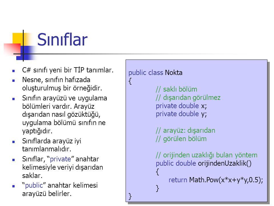 SINIFLAR: Erişim Denetimi public class Nokta { // saklı bölüm // dışarıdan görülmez private double x; private double y; // arayüz: dışarıdan // görülen bölüm // orijinden uzaklığı bulan yöntem public double orijindenUzaklik() { return Math.Pow(x*x+y*y,0.5); } public class Nokta { // saklı bölüm // dışarıdan görülmez private double x; private double y; // arayüz: dışarıdan // görülen bölüm // orijinden uzaklığı bulan yöntem public double orijindenUzaklik() { return Math.Pow(x*x+y*y,0.5); } Sınıfın İsmi Sınıf İçerisindeki Değişkenler Sınıf İçerisindeki Fonksiyonlar
