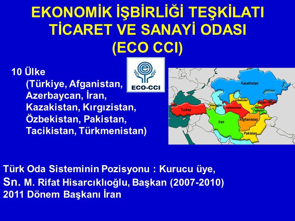 EKONOMİK İŞBİRLİĞİ TEŞKİLATI TİCARET VE SANAYİ ODASI (ECO CCI) 10 Ülke (Türkiye, Afganistan, Azerbaycan, İran, Kazakistan, Kırgızistan, Özbekistan, Pa