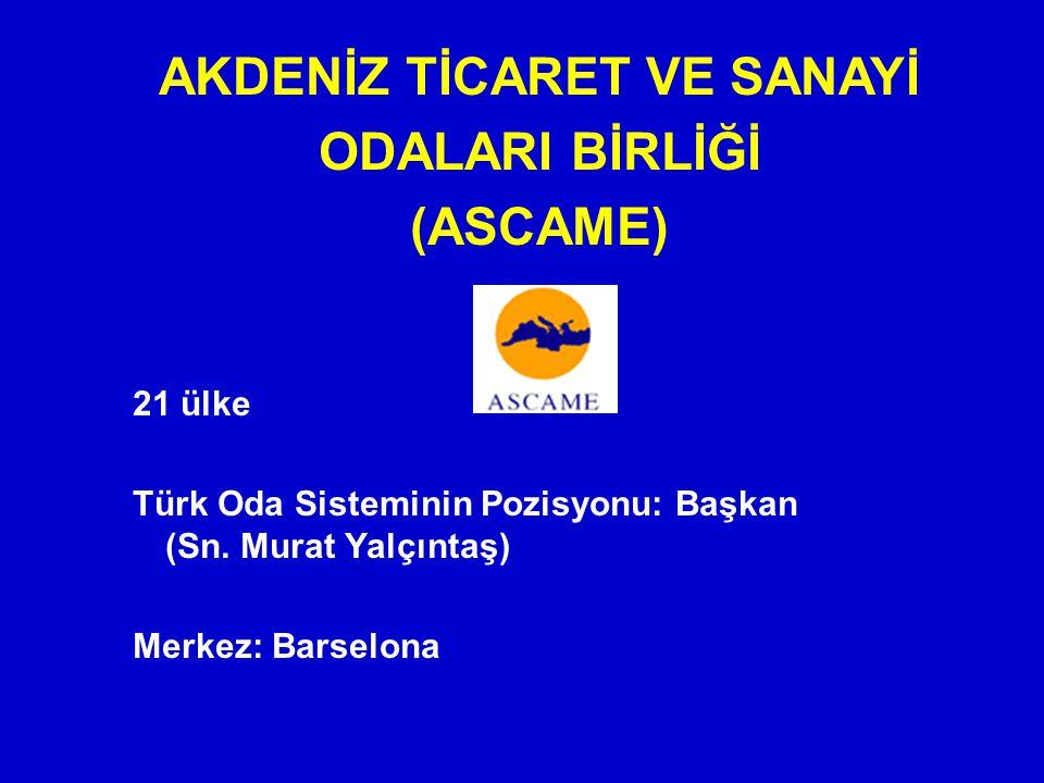 AKDENİZ TİCARET VE SANAYİ ODALARI BİRLİĞİ (ASCAME) 21 ülke Türk Oda Sisteminin Pozisyonu: Başkan (Sn. Murat Yalçıntaş) Merkez: Barselona