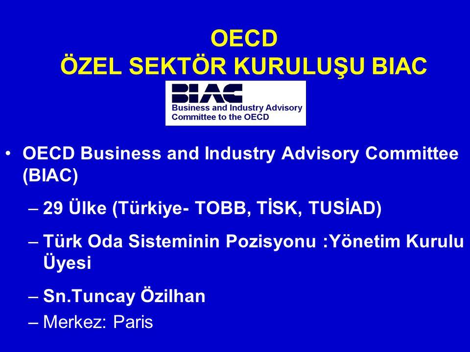 OECD ÖZEL SEKTÖR KURULUŞU BIAC OECD Business and Industry Advisory Committee (BIAC) –29 Ülke (Türkiye- TOBB, TİSK, TUSİAD) –Türk Oda Sisteminin Pozisyonu :Yönetim Kurulu Üyesi –Sn.Tuncay Özilhan –Merkez: Paris