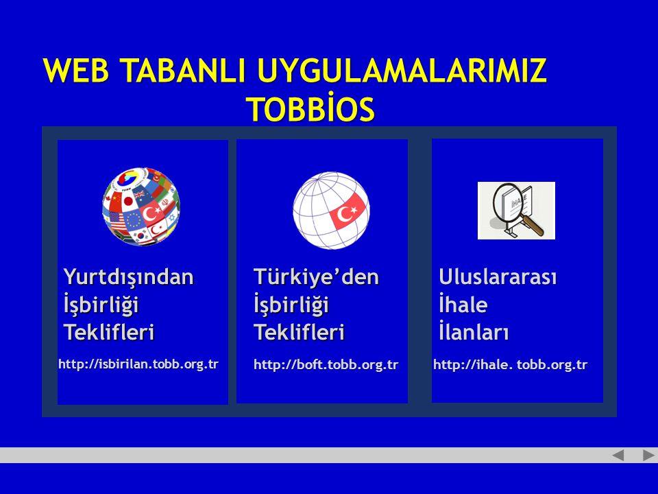 WEB TABANLI UYGULAMALARIMIZ TOBBİOS http://isbirilan.tobb.org.tr Yurtdışından İşbirliği Teklifleri Türkiye'den İşbirliği Teklifleri Uluslararası İhale İlanları http://boft.tobb.org.tr http://ihale.
