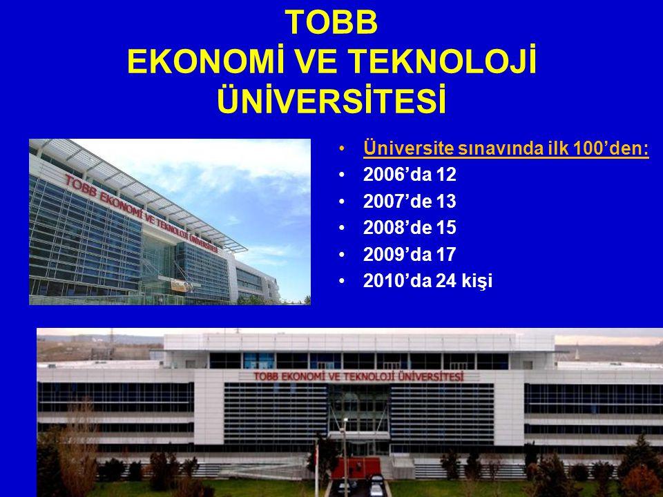 TOBB EKONOMİ VE TEKNOLOJİ ÜNİVERSİTESİ Üniversite sınavında ilk 100'den: 2006'da 12 2007'de 13 2008'de 15 2009'da 17 2010'da 24 kişi