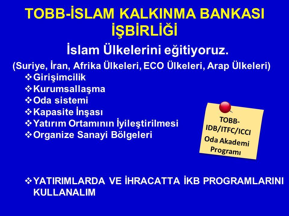 İslam Ülkelerini eğitiyoruz. (Suriye, İran, Afrika Ülkeleri, ECO Ülkeleri, Arap Ülkeleri)  Girişimcilik  Kurumsallaşma  Oda sistemi  Kapasite İnşa