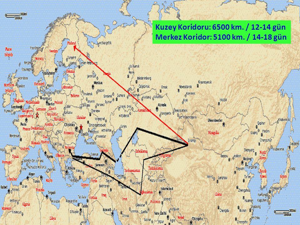 Kuzey Koridoru: 6500 km. / 12-14 gün Merkez Koridor: 5100 km. / 14-18 gün