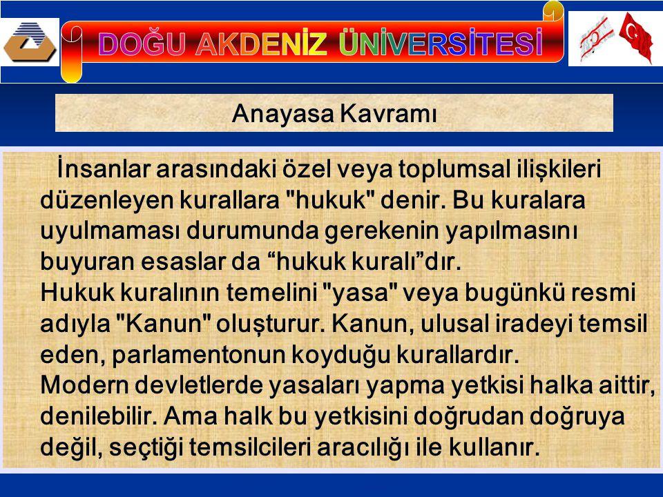 Anayasa Kavramı İnsanlar arasındaki özel veya toplumsal ilişkileri düzenleyen kurallara