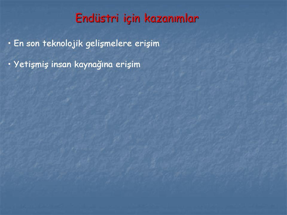 Endüstri için kazanımlar En son teknolojik gelişmelere erişim Yetişmiş insan kaynağına erişim